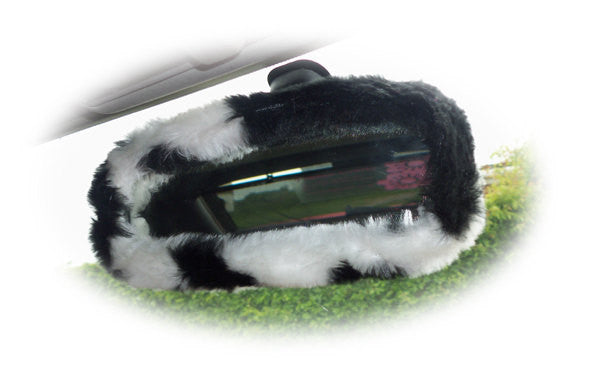 Black & white cow print faux fur rear view interior mirror cover - Poppys Crafts