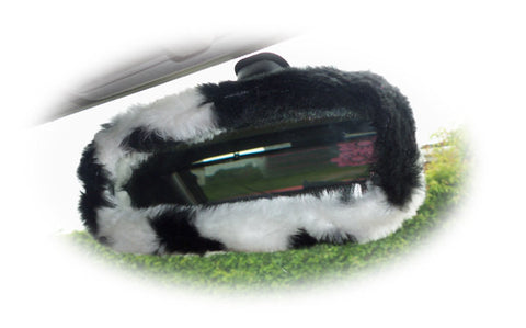 Black & white cow print faux fur rear view interior mirror cover