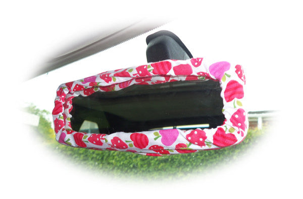Pink and red Strawberry and apples cotton car rear view interior mirror cover - Poppys Crafts