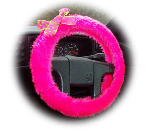 Cute Barbie Pink faux fur fuzzy car steering wheel cover with spotty pink & lime green polka dot Bow