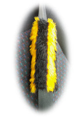1 pair of faux fur fuzzy print seatbelt pads choose your print from a choice of leopard print zebra tiger cheetah cow bee - Poppys Crafts  - 3