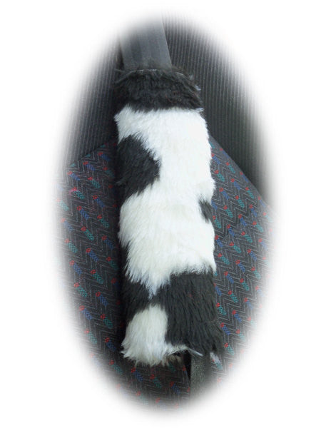 Seatbelt Pads 1 Pair Of Furry Faux Fur Fluffy Fuzzy Print