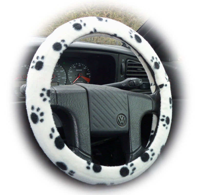 Paw print fleece car steering wheel cover in black and white and multi-coloured - Poppys Crafts