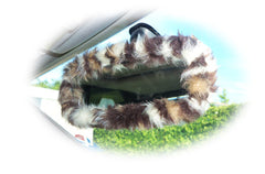 furry faux fur fluffy fuzzy print car rear view interior mirror cover choice of animal print cow zebra leopard tiger cheetah dalmation - Poppys Crafts  - 2