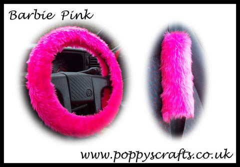 Fluffy Barbie Pink Car Steering wheel cover & matching fuzzy faux fur seatbelt pad set girly girl car accessories