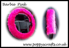Fluffy Barbie Pink Car Steering wheel cover & matching fuzzy faux fur seatbelt pad set - Poppys Crafts