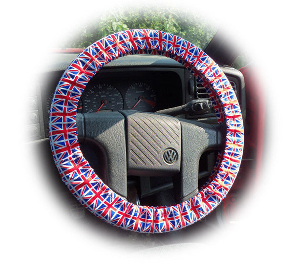 Patriotic Union Jack flag cotton print car steering wheel cover United Kingdom England Britain London car red white blue - Poppys Crafts  - 1