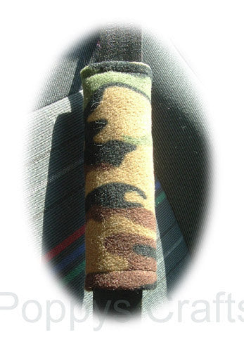Camouflage Camo print Army Green fleece car seatbelt pads 1 pair - Poppys Crafts