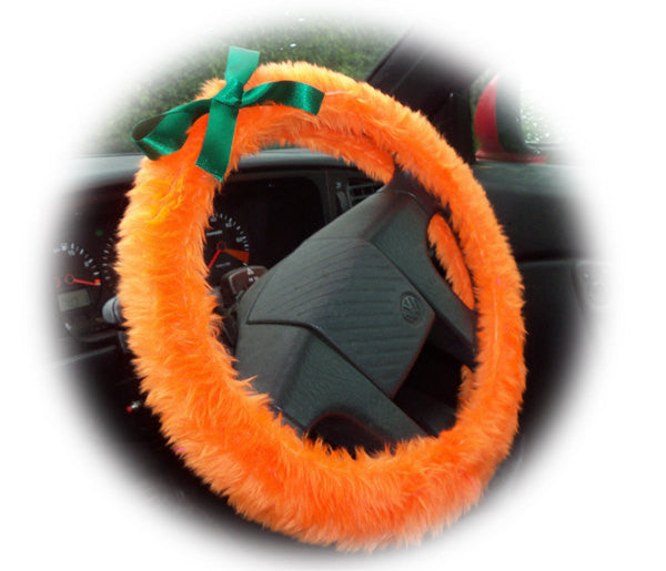 Pumpkin Orange fuzzy faux fur car steering wheel cover with green satin bow great for halloween - Poppys Crafts
