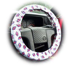 London Calling Union Jack flags cotton car steering wheel cover - Poppys Crafts  - 1
