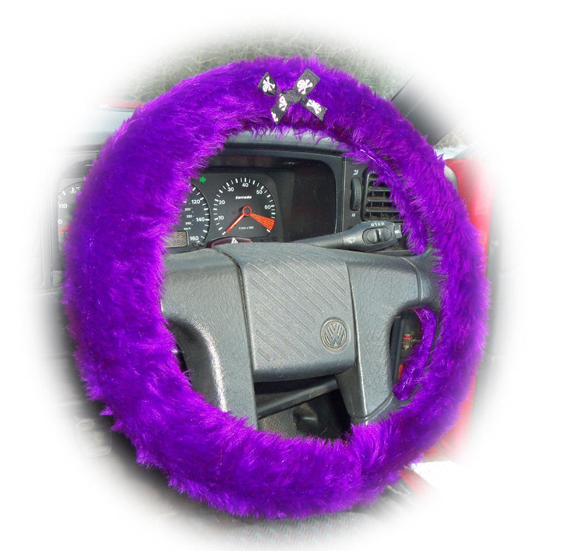 Purple fuzzy car steering wheel cover faux fur with skull and cross bones black white ribbon bow - Poppys Crafts