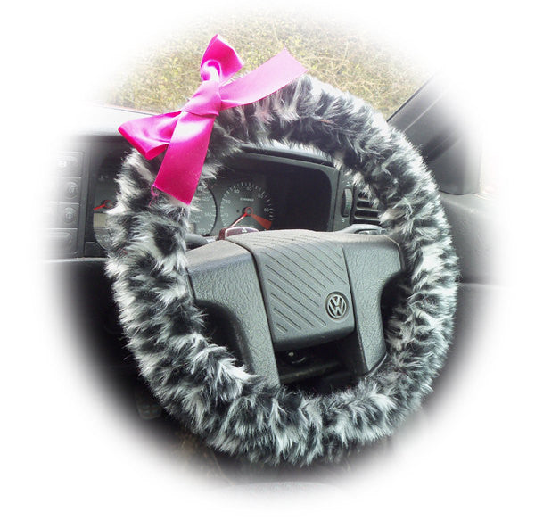 Snow Leopard fuzzy car steering wheel cover with Barbie Pink Satin Bow fluffy and cute - Poppys Crafts