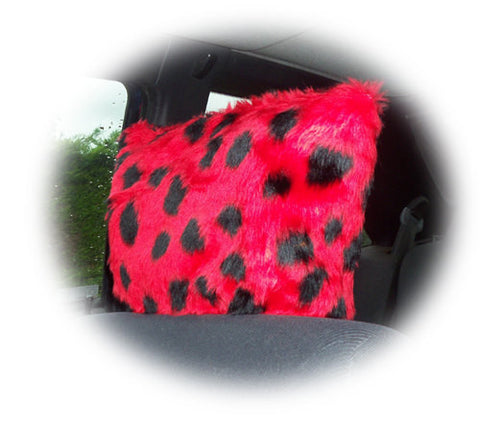 Spotty ladybird fuzzy faux fur car headrest covers red and black spots