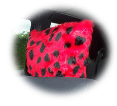 Spotty ladybird fuzzy faux fur car headrest covers red and black spots - Poppys Crafts  - 1