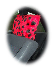 Spotty ladybird fuzzy faux fur car headrest covers red and black spots - Poppys Crafts