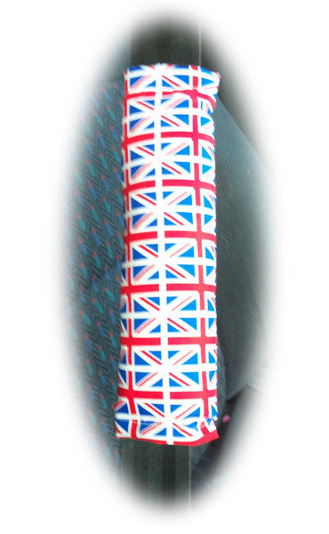 Union Jack Flag cotton Seatbelt pads 1 pair - Poppys Crafts  - 1