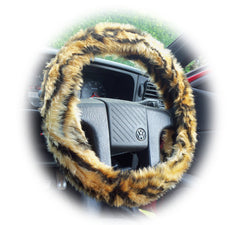 Gold Tiger Stripe Fuzzy Faux Fur Car Steering Wheel Cover