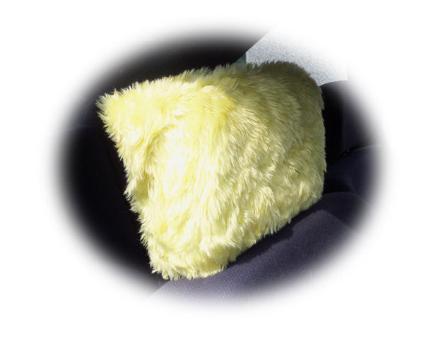 Sunshine yellow faux fur fuzzy car headrest covers - Poppys Crafts  - 1