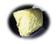 Sunshine yellow faux fur fuzzy car headrest covers - Poppys Crafts