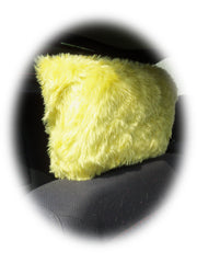 Sunshine yellow faux fur fuzzy car headrest covers - Poppys Crafts  - 2