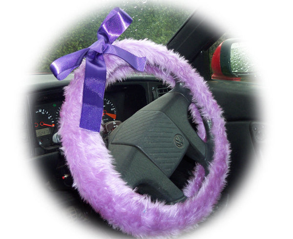 Lilac Fuzzy Car Steering Wheel Cover With Purple Satin Bow Cute And Fluffy
