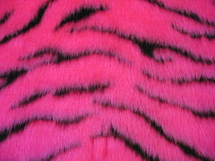 Pink and black tiger stripe fuzzy faux fur seatbelt pads 1 pair - Poppys Crafts