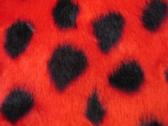 ladybird ladybug red black spot print guitar strap pad handbag messenger bag seatbelt pad furry fluffy fuzzy faux fur spotty cute polka dot - Poppys Crafts  - 2