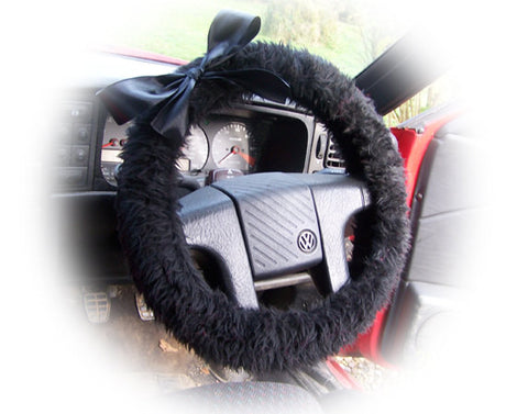 Black fluffy faux fur car steering wheel cover with Black satin Bow