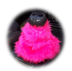 Barbie pink fuzzy faux fur gear stick gaiter cover - Poppys Crafts