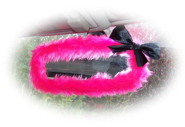 Barbie pink faux fur fuzzy rear view interior car mirror cover with black satin bow - Poppys Crafts