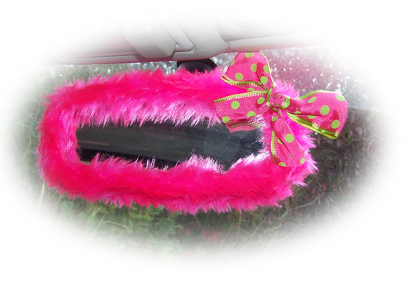 Barbie Pink Fuzzy Rearview Mirror Cover Spotty Lime Bow