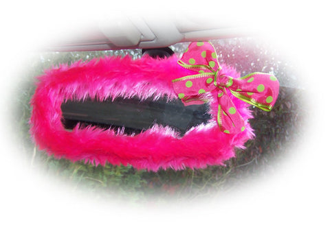 Barbie pink faux fur rear view mirror cover with lime and pink spotty bow