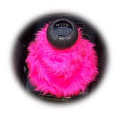 Barbie pink fuzzy faux fur gear stick gaiter cover - Poppys Crafts  - 2