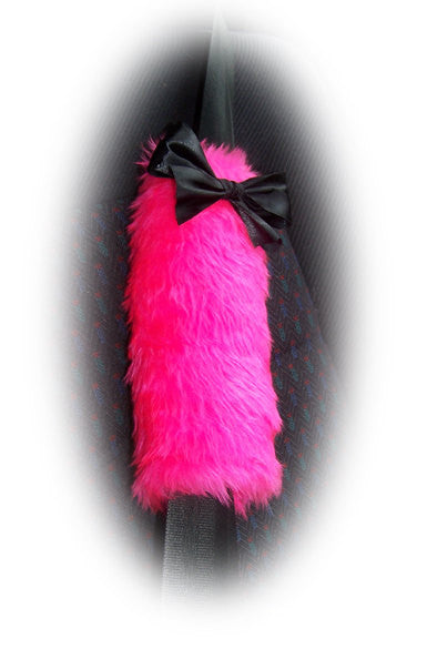 1 pair of faux fur Fuzzy barbie pink car seatbelt pads with black satin bows - Poppys Crafts