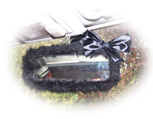 Cute fuzzy Black rear view mirror cover faux fur with black satin bow - Poppys Crafts