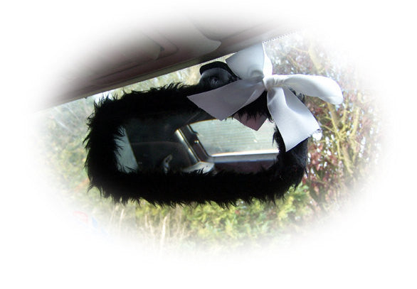 Black Fuzzy Furry Car Mirror Cover With White Bow Poppys