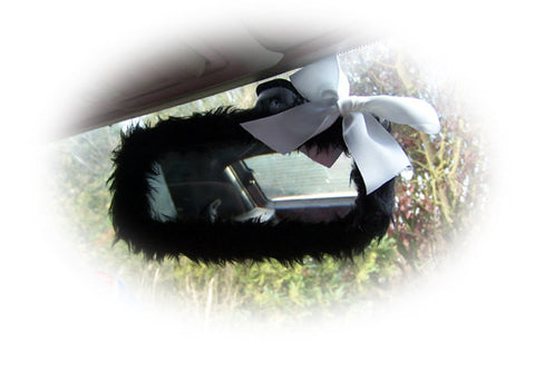 Cute fluffy faux fur Black car mirror cover with white satin bow fuzzy