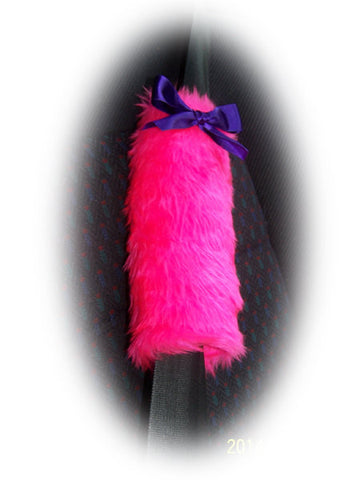 Fuzzy faux fur barbie pink car seatbelt pads with purple satin bows 1 pair cute fluffy and furry