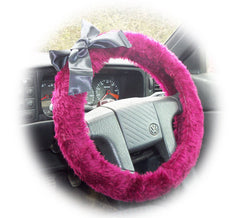 Burgundy red fuzzy car steering wheel cover with Black satin bow - Poppys Crafts
