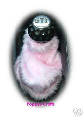 Cute Baby pink fluffy fuzzy gear stick gaiter cover