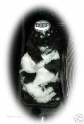 Black and white cow print faux fur fluffy gear stick gaiter cover - Poppys Crafts