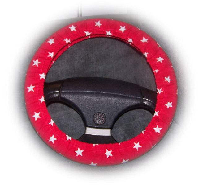 red steering wheel cover with white stars star print cute Cotton fabric car van truck suv jeep hummer 4x4 galaxy - Poppys Crafts