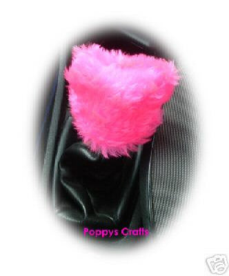 Fluffy cute Barbie Pink Gear knob stick shift cover faux fur - Poppys Crafts