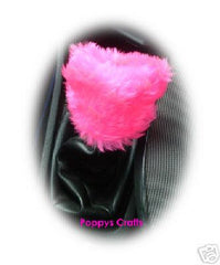 Large Barbie Pink fluffy car accessories set Steering wheel cover, seatbelt pads Gear knob cover, gaiter cover, mirror cover, and handbrake cover faux fur girly girl - Poppys Crafts  - 3