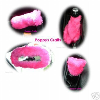 Cute Barbie Pink fluffy faux fur car accessories 4 piece set