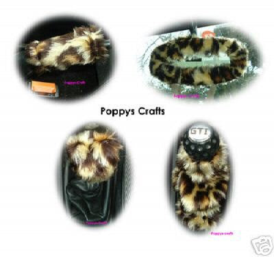 Leopard Animal print fluffy car accessories set Gear knob, gaiter, mirror, and handbrake covers faux fur fuzzy cute car wild cheetah