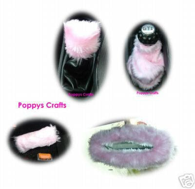 cute fluffy faux fur Baby Pink car accessories set Gear knob gaiter mirror and handbrake covers furry fuzzy