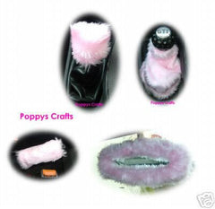 cute fluffy faux fur Baby Pink car accessories set Gear knob gaiter mirror and handbrake covers furry fuzzy - Poppys Crafts  - 1