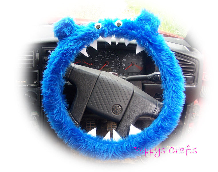 Fuzzy faux fur Royal Blue fluffy Monster car steering wheel cover with googly eyes, ears and teeth - Poppys Crafts