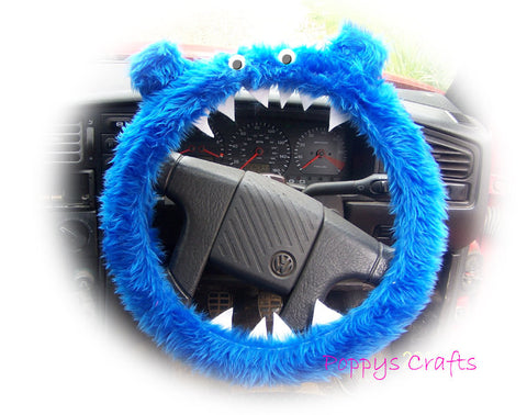 Fuzzy faux fur Royal Blue fluffy Monster car steering wheel cover with googly eyes, ears and teeth